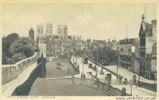 Medieval City Walls in York. Postcard